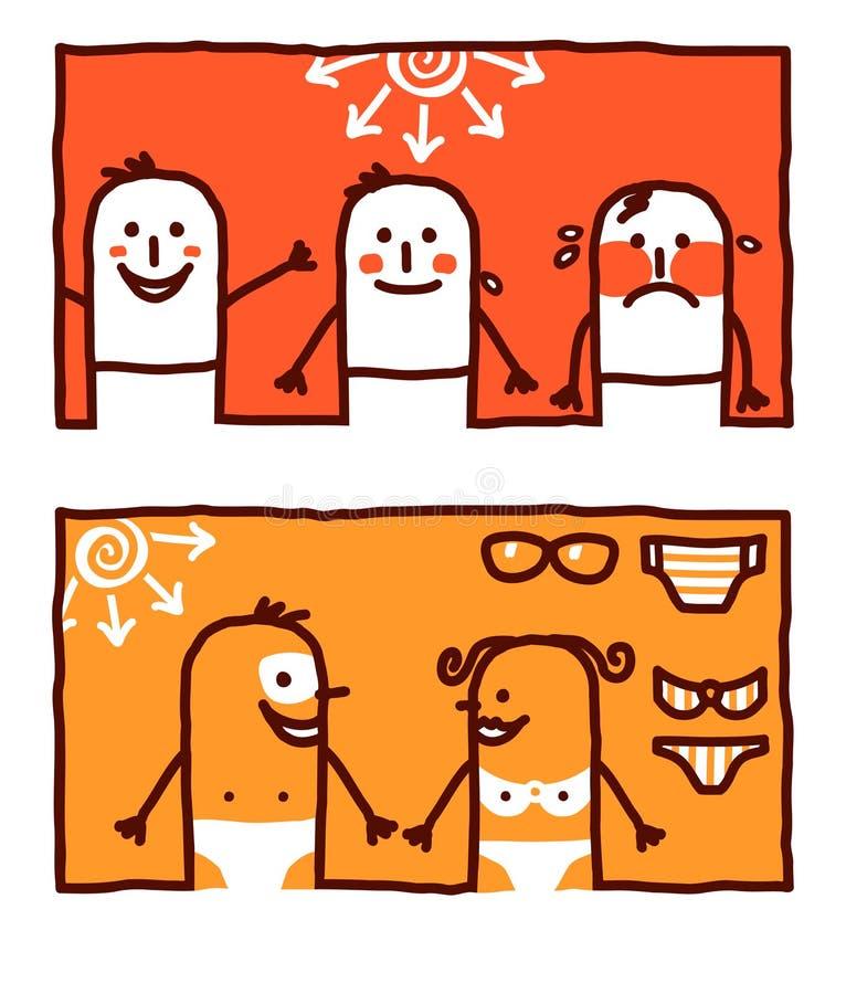 Rayons et bronzage chauds du soleil illustration stock