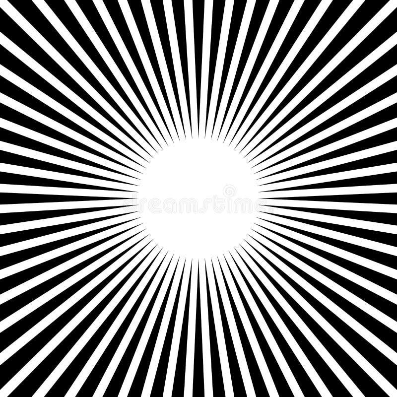 Rayons, faisceaux, modèle de rayon de soleil de starburst Lignes convergentes abst illustration stock