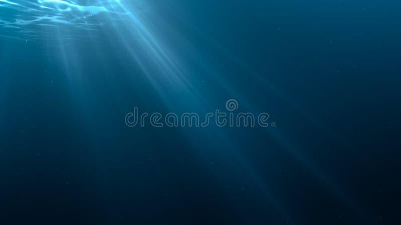 Rayons légers dans la scène sous-marine 3D a rendu l'illustration illustration libre de droits