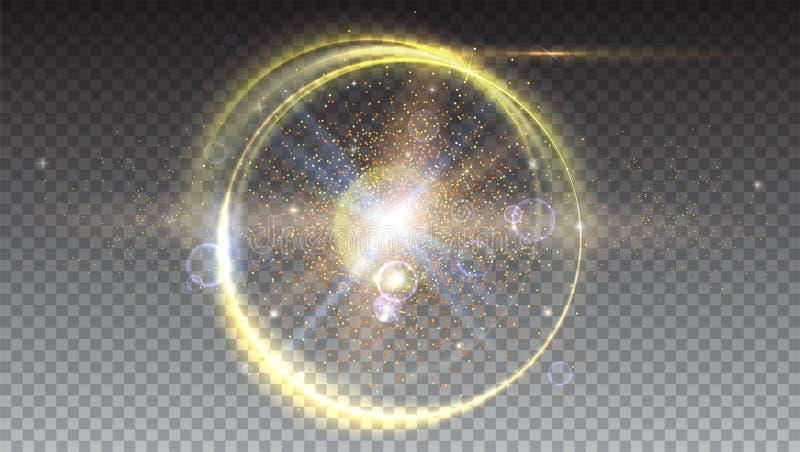 Rayons légers de Digital et contexte de fusée de lentille Effet de la lumière de lueur Éclat d'étoile avec des étincelles Mouveme illustration de vecteur
