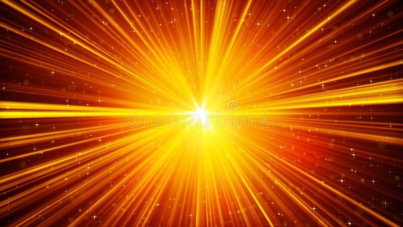 Rayons légers et fond brillants jaunes d'étoiles illustration de vecteur