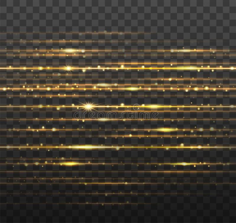 Rayons laser abstraits d'or avec les étincelles brillantes d'isolement sur le fond noir transparent Illustration de vecteur illustration stock