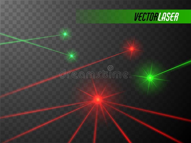 Rayons laser réglés Feux rouges et verts Vecteur illustration stock