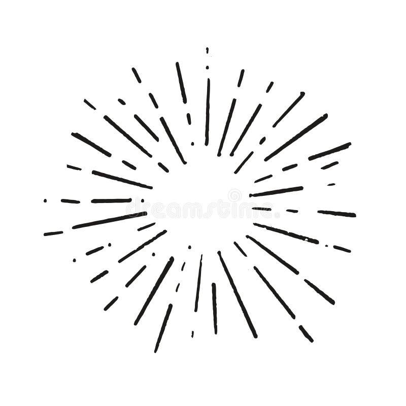 Rayons noirs de conception d'explosion de rayon de soleil de griffonnage de cru de feux d'artifice tirés par la main d'élément illustration libre de droits