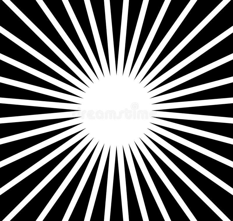 Rayons radiaux, faisceaux Fond monochrome abstrait Rad circulaire illustration libre de droits