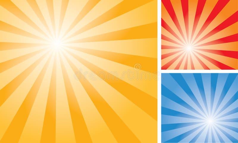 Rayons trois couleurs illustration de vecteur