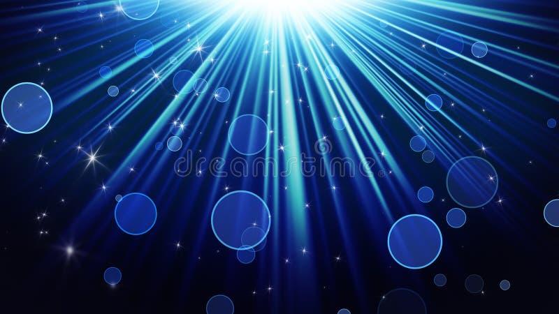 Rayos azules de la luz y del fondo brillante del extracto de las estrellas libre illustration