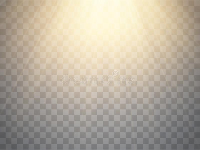 Rayos de la luz calientes aislados Proyector de oro Vector libre illustration