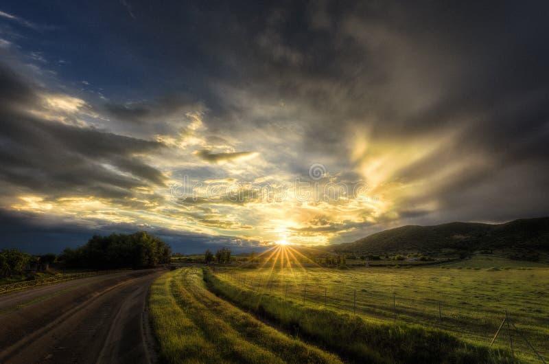Rayos de la puesta del sol en un prado verde hermoso imágenes de archivo libres de regalías