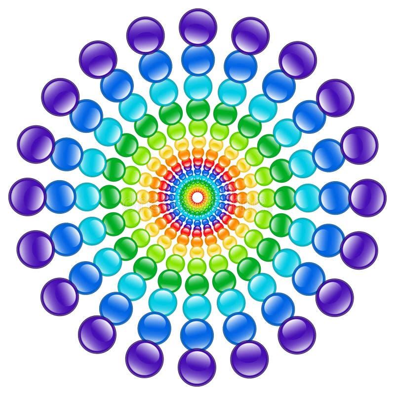 Rayos de la rueda del arco iris de cuentas de cristal foto de archivo