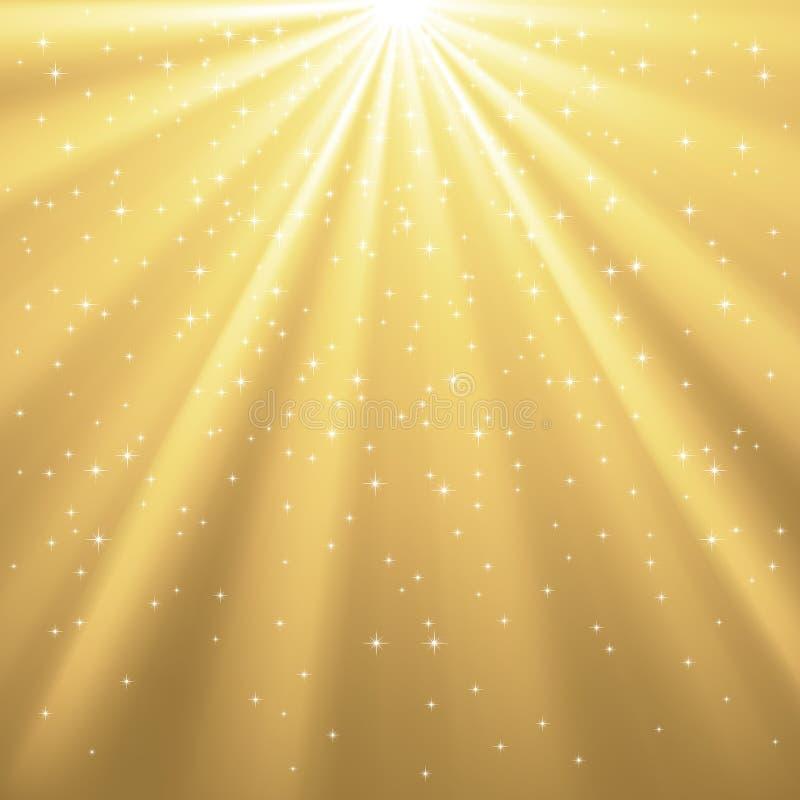 Rayos de oro de la luz y de las estrellas libre illustration