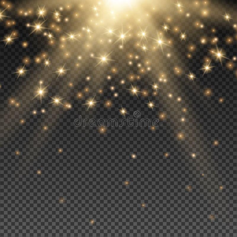 Rayos de oro de Sun ilustración del vector