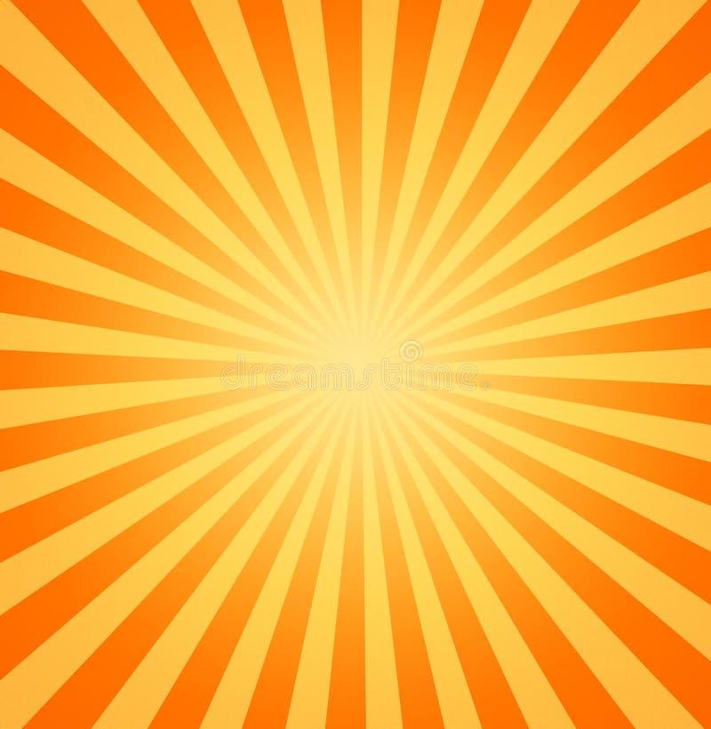 Rayos de sol calientes del sol que brillan ilustración del vector