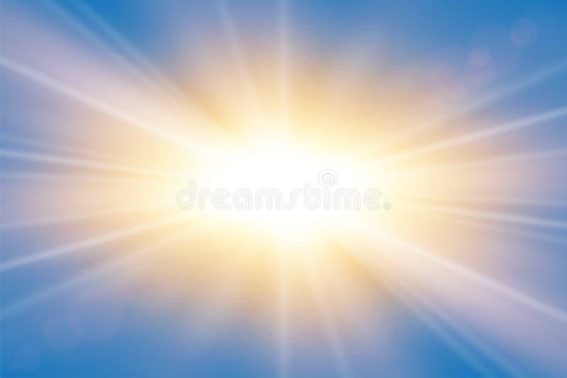 Rayos de Sun Efecto brillante de Starburst, aislado sobre fondo azul Flash ligero de la estrella del oro Haces abstractos del bri stock de ilustración