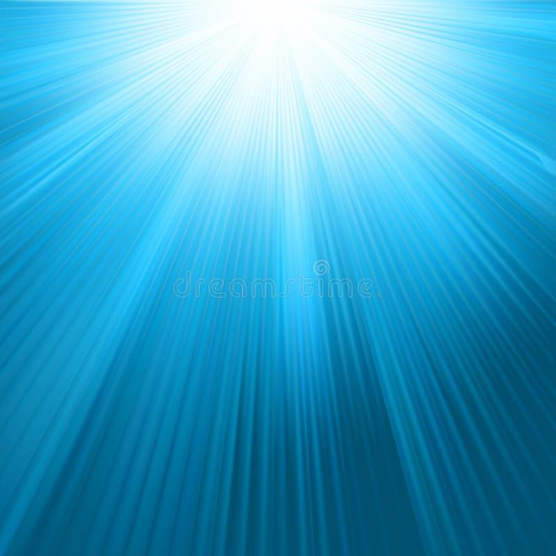 Rayos de Sun en modelo del cielo azul. EPS 8 ilustración del vector