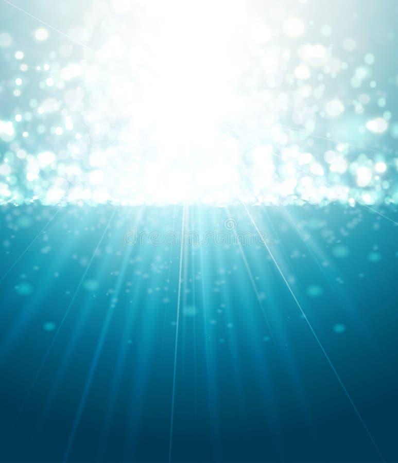 Rayos de Sun y fondo abstractos del azul de Bokeh ilustración del vector