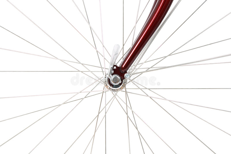 Rayos de una rueda de bicicleta delantera imágenes de archivo libres de regalías