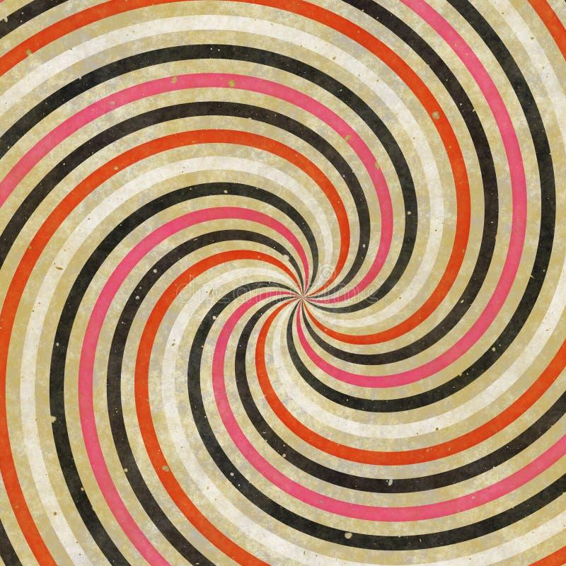 rayos espirales salvajes cobardes del remolino retro de los años 70 de los años 60 stock de ilustración