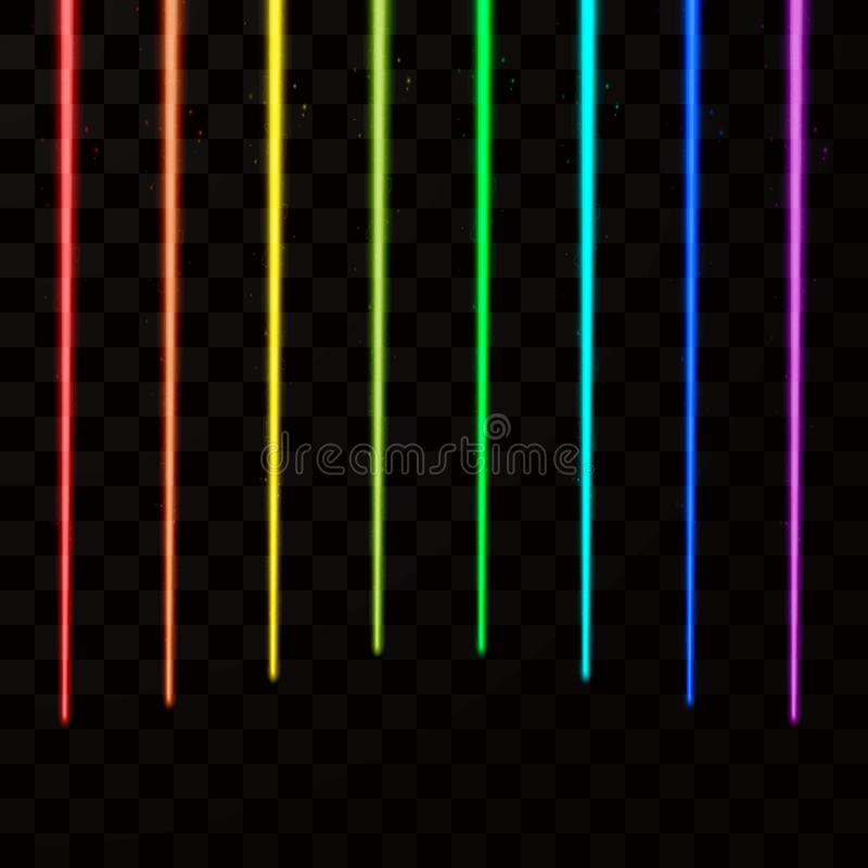 Rayos laser coloridos El laser abstracto irradia todo el color del arco iris Ilustración del vector stock de ilustración