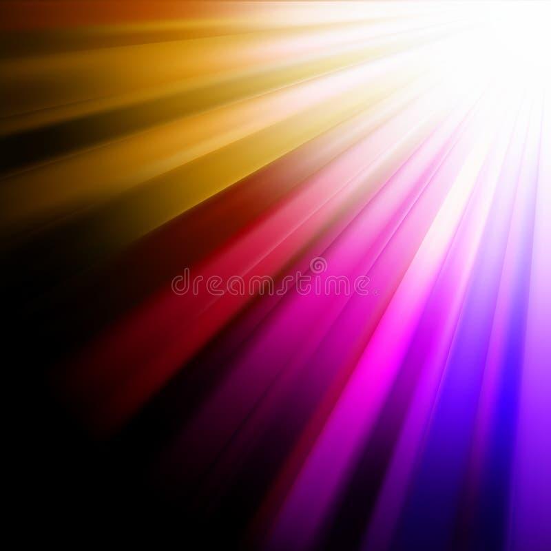 Rayos luminosos azules, rosados, anaranjados. EPS 8 ilustración del vector