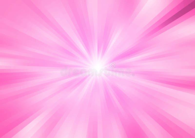 Rayos o velocidad de la luz brillantes radiales del extracto en fondo rosado stock de ilustración