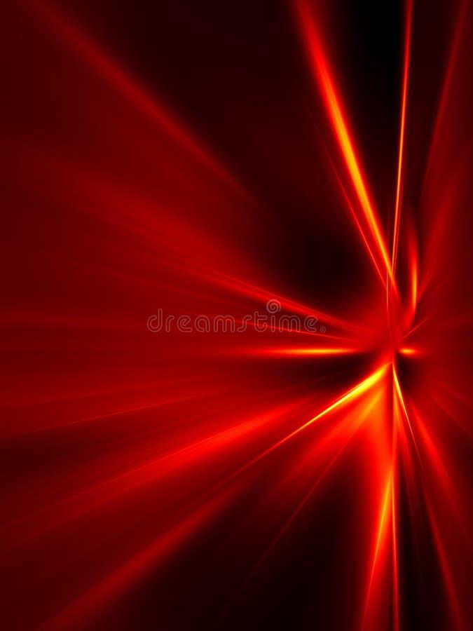 Rayos rojos y amarillos en fondo negro stock de ilustración