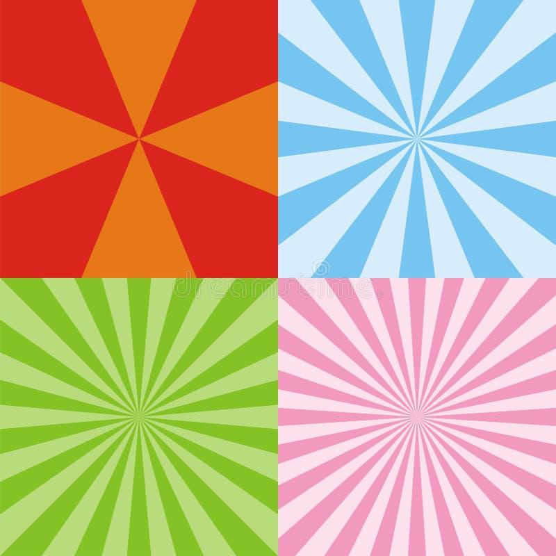 Radiant backgrounds. Set of colored radiant backgrounds stock illustration