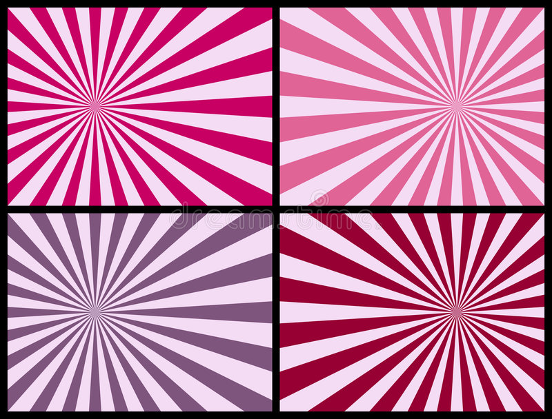 Rays Background [Pink]. Four retro rays backgrounds in pink tone. Each Sunburst measures 3500x2625 pixels. Three different versions (pink, blue and warm colors) stock illustration