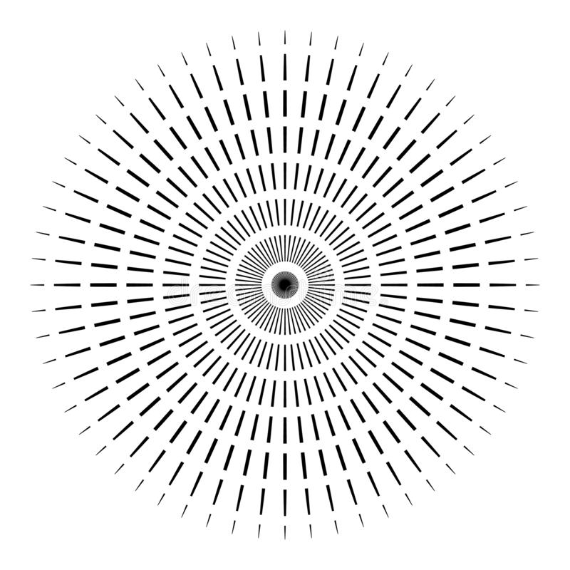 Rays, beams element. Sunburst, starburst shape on white. Radiating, radial, merging lines. Abstract circular geometric vector illustration