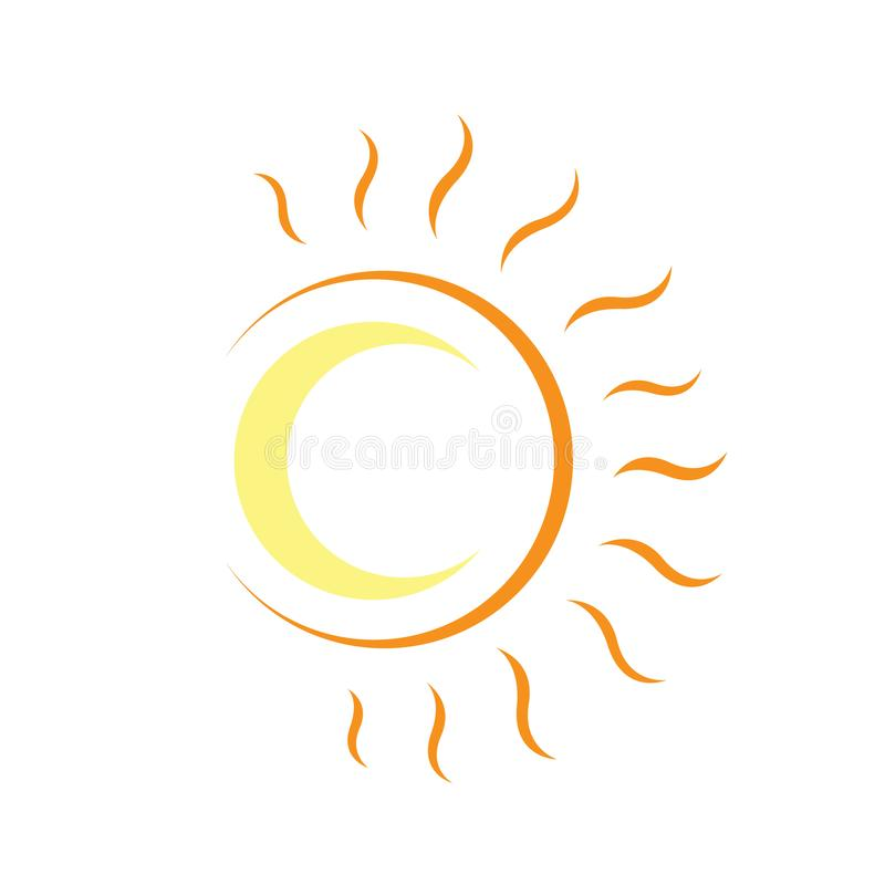 rays crescent sun and moon logo design vector graphic concept illustrations stock illustration