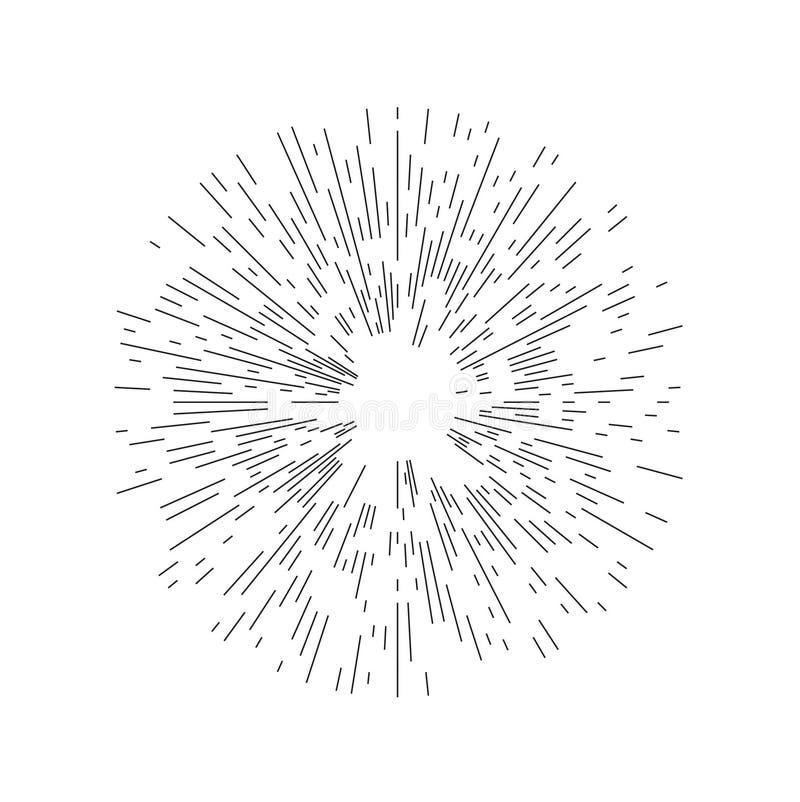 Rays element. Abstract circular geometric shape. stock illustration