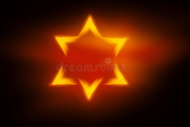Among rays of gold Star of David . royalty free illustration