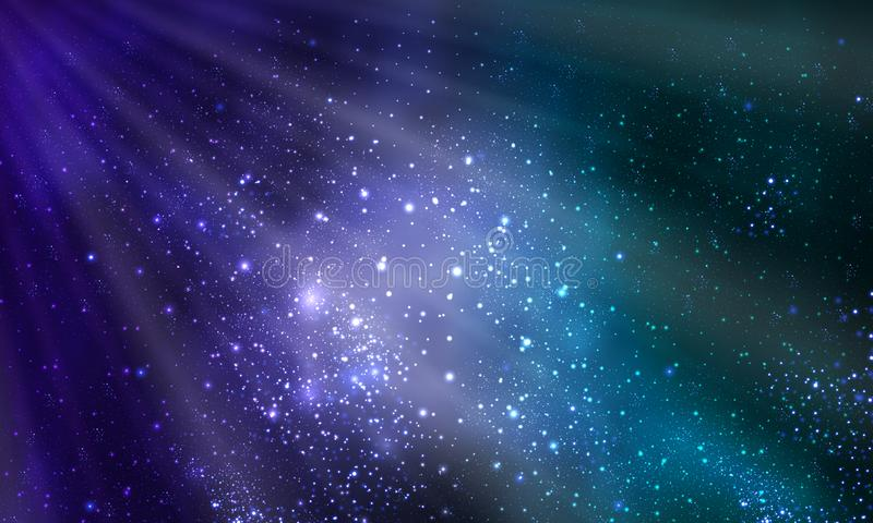 The rays of light and the bright galaxy vector illustration
