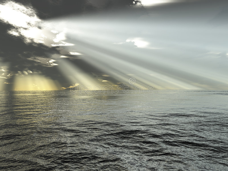 Rays of light and ocean royalty free illustration