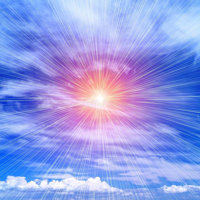 Rays of the sun on the blue sky. Bright rays of the sun against a blue cloudy sky stock photos