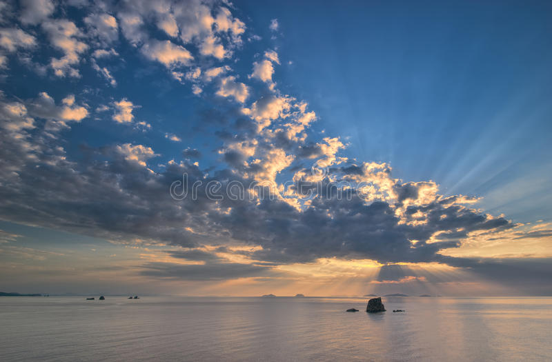 Rays of the sun over the sea. Far East of Russia. East (Japan) Sea royalty free stock photography