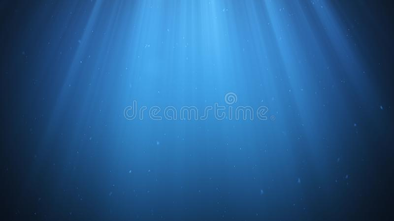 Rays of sunlight shining from above penetrate deep clear blue water. Sun light beams underwater. Small bubbles move up. Under the water surface, 3D Rendering royalty free illustration