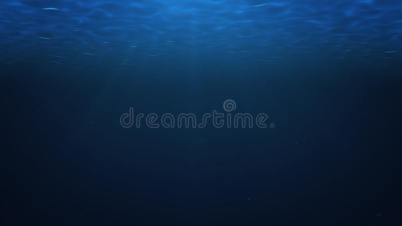 Rays of sunlight shining from above penetrate deep clear blue water. Sun light beams underwater. Small bubbles move up. Under the water surface, 3D Rendering stock illustration