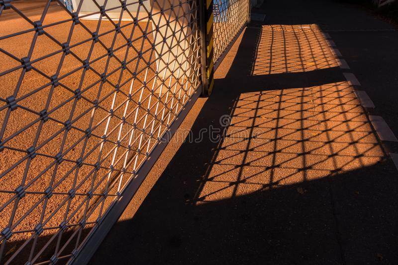Rays of warm sunlight. On a public walk stock photography