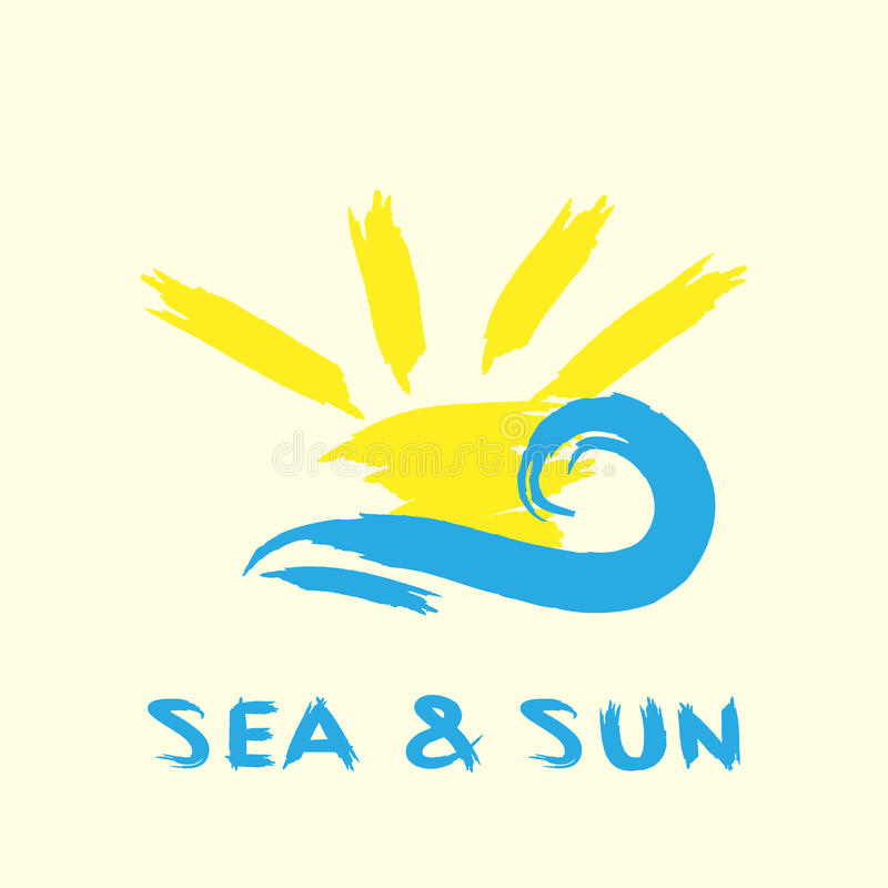 Rays and waves. Handwritten text Sea and Sun. royalty free illustration