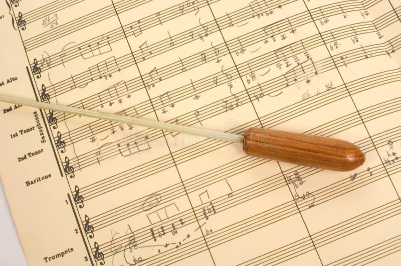 Rayure Musicale Avec Le Bâton Du Conducteur Photographie stock