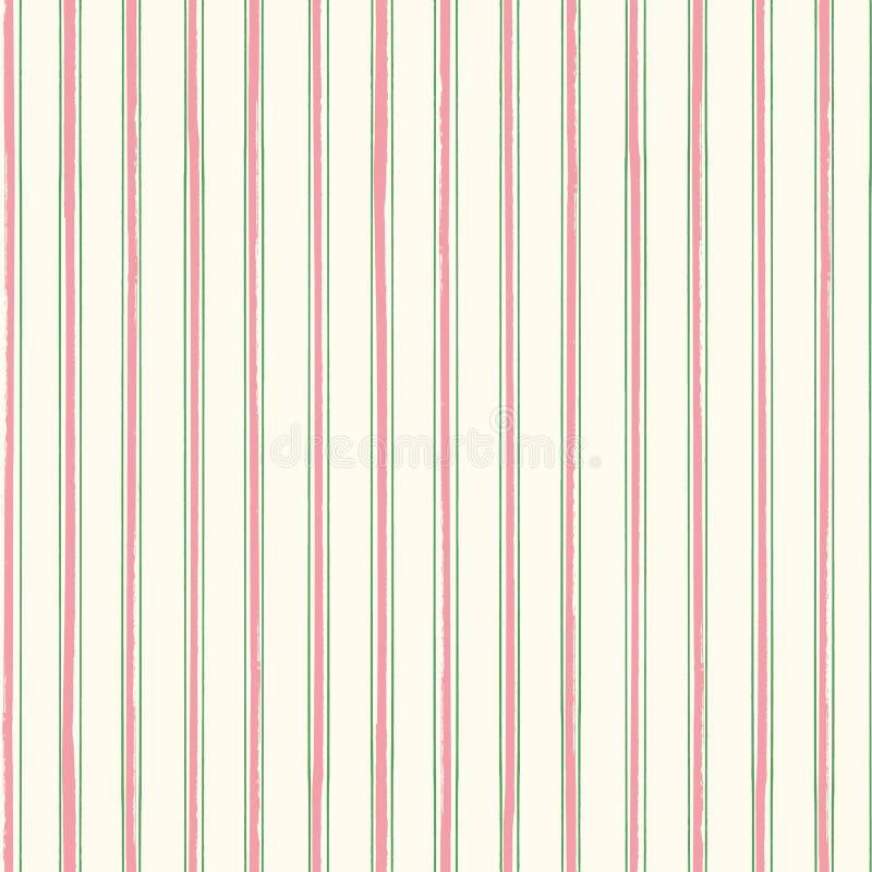 Rayures classiques dans rose et vert en pastel avec une torsion painterly contemporaine sur le fond crème mou Vecteur sans joint illustration libre de droits