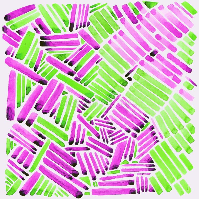 Rayures d'aquarelle Couleurs roses et vertes Facile pour éditez illustration stock