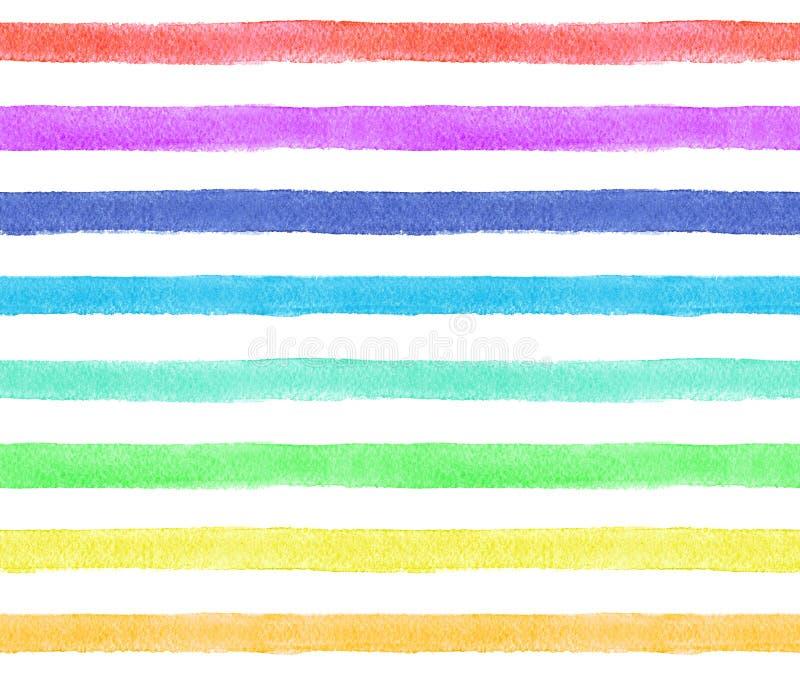 Rayures de couleurs d'arc-en-ciel sur le fond blanc Modèle sans couture d'aquarelle illustration stock