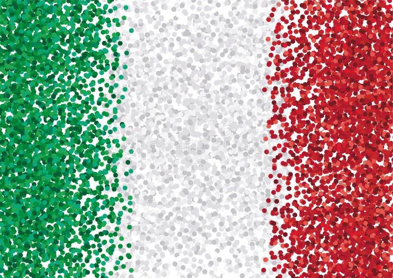 Rayures de rouge, vertes et blanches petites de confettis sur un fond blanc Disposition de vecteur illustration de vecteur