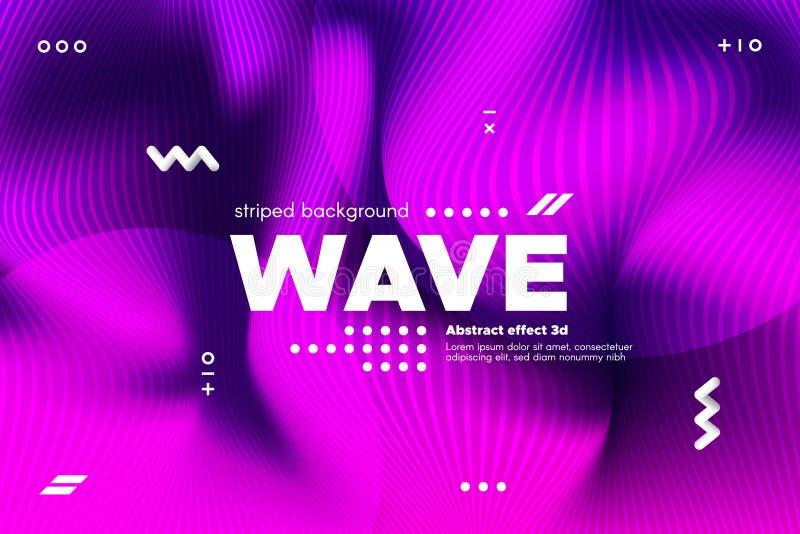 rayures de vague et ondulation tordues par 3d de la surface illustration stock