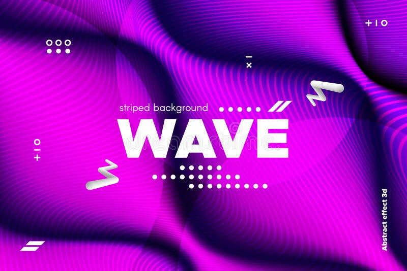 rayures de vague et ondulation tordues par 3d de la surface illustration de vecteur