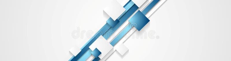 Rayures et bannière abstraites bleues de technologie de places illustration de vecteur