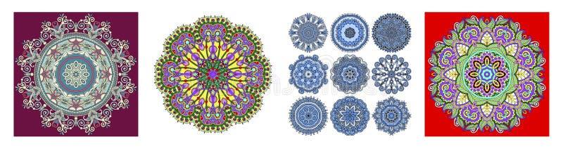 Rayures florales ornementales sans couture dans le style indien de kalamkari illustration de vecteur