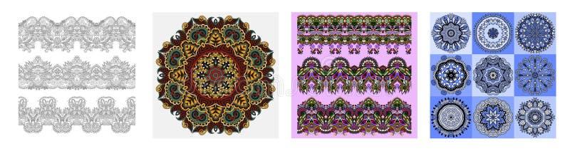 Rayures florales ornementales sans couture dans le style indien de kalamkari illustration libre de droits